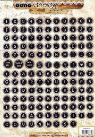 Alphabet & Numbers On Vintage Typewriter Keys Die Cut 3D Craft Sheet